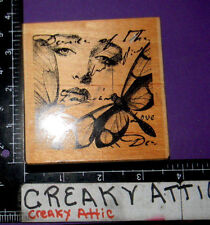 COLLAGE DANCE OF BUTTERFLIES FACE SCRIPT RUBBER STAMP PAPER INSPIRATIONS H7050