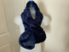 NIGHTINGALES LADIES FAUX FUR BLUE/BLACK SCARF/NECKWARMER/SHAWL - NEW