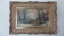 2 huiles 1920, dont paysage de neige, avec cadre