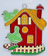 """""""Our First Birdhouse"""" ~ Suncatcher with Stained Glass/Acrylic/Metal ~ 4"""" ~ New"""