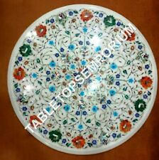 "18"" White Marble Coffee Table Top Turquoise Multi Inlay Precious Stone Art E1051"
