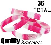 (36) Camouflage Pink Breast Cancer Awareness Saying Ribbon Wrist Bracelets CAMO