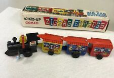 Zig Zag Comic Express Wind Up Vintage Tin Litho Train with  Box Works (1B)