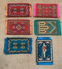 New listing 5 Different Vintage Cigar Tobacco Silk Felts 4 Doll House Rugs + Swiss Soldier