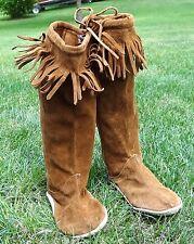 Vtg Handmade Western American Leather Fringe Native Boots Indian Moccasins