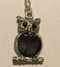 Purple Stone OWL PENDANT WITH NECKLACE fashion Jewelry