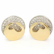 Movado 18K Two Tone Gold 1.80ctw FINE Round Diamond & Heart Disk Button Earrings