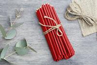 🔴 50 X  Rote Bienenwachs dünne Kerzen Diveevo Rubinrot  Kirchenqualität 16 cm