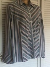 Italian Designer Marina Rinaldi Sport Shirt Grey Teal White Stripes Sz 25 18-22