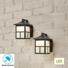 Hampton Bay Black Outdoor Integrated LED Wall Lantern Sconce 2-Pack BAL-012