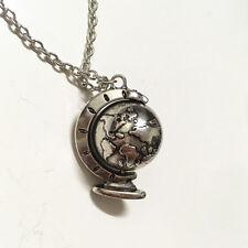Vintage  Silver Jewelry Rotatable Mini Globe World Pendant Necklace