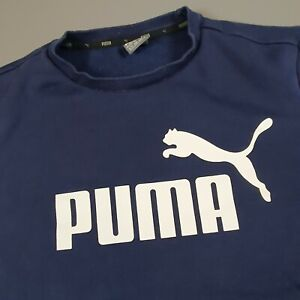Men's Navy Puma Sweatshirt Big Logo Jumper Sweater Size XL