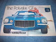 """1971 Goodyear Tires Polyglas GT Vintage Ad """"It's Not A Racing Tire..."""" Camaro RS"""