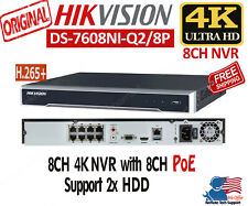 Hikvision DS-7608NI-Q2/8P 8CH NVR 8MP 4K PoE H.265+ 4K HDMI Output Support 2xHDD