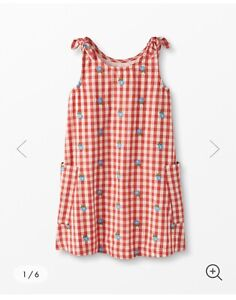 Hanna Andersson Girls Red Gingham Embroidered Sleeveless Dress, Sz 6-7, 120, NWT
