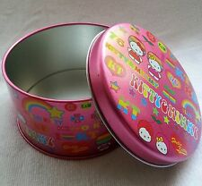 Hello Kitty Tin Candy Container Box Best Gift Box Round Pink Rainbow Lid NEW