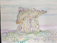 Ancient Irish Altar Tomb.Dolmen.Pagan Burial Monument.Original Painting.Ireland