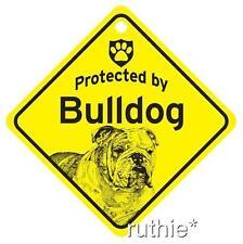 Protected by English Bulldog Dog Window Sign Made USA