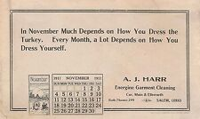 A.J. Harr Energine Garment Cleaning Salem, OH Advertising Blotter November 1917