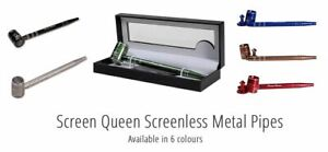 Screen Queen Deluxe Screenless Smooth Smoke Metal Long Pipe - FREE POST
