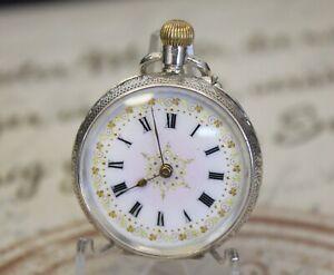 Schöne antike Damen Taschenuhr in 0.935 Silber pocket watch