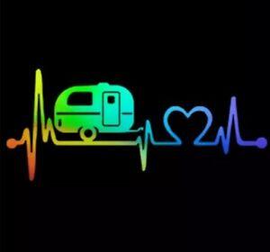 Heartbeat Campervan Caravan Vinyl Sticker