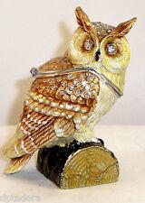 TREASURES OWL BEJEWELED HINGED TRINKET / JEWELRY /  PILL BOX
