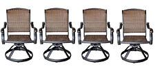 Patio outdoor Wicker Furniture Swivel Rocker Dining Chair set of 4 aluminum