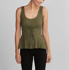 EXPRESS OLIVE GREEN SLEEVELESS ONE ELEVEN LACE-UP PEPLUM RIBBED TOP TANK Sz M