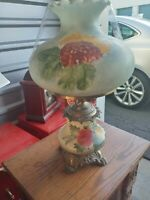 Vintage 3-way Hurricane Gone With The Wind Hand  Painted Parlor Lamp