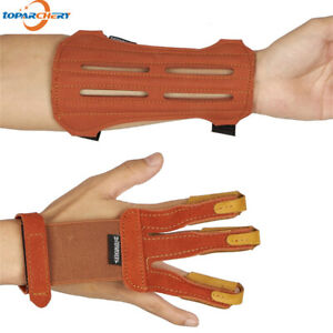 Leather 3 Finger Archery Glove & 2 Straps Arm Guard Set Hunting Protective Gear