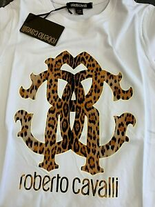 RRP £150 Genuine ROBERTO CAVALLI Top t-shirt White Animal Print Logo women M / L