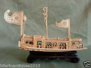 Old Oriental Chinese Hand Quality Carved Boat With Figures And Wood Stand