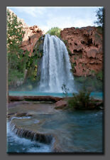 Elysium Pools Waterfall LARGE Canvas Gallery Wrap Fine Art Nature Photo Teal Sky