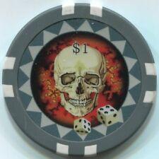 8 pc 8 colors 12.5 gram SKULL and DICE poker chip samples #223