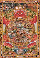 "BHAVACHAKRA WHEEL OF LIFE 32"" EMBROIDERY DRAGON BROCADE SCROLL TIBETAN THANGKA ="