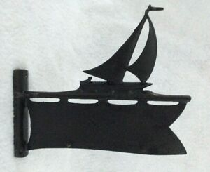 Vintage Black Iron Sailboat Address Name Wall Mount House or Pole Plaque