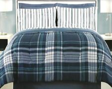 8 Pc Ellison Dennison Bed-In-A-Bag ~ Blue & White Plaid ~ Queen 86x86 *NEW*