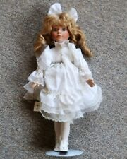 """1993 Brinn's Porcelain Doll - 16"""" with stand - Girl in white dress with Bible"""