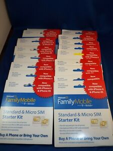 Lot of 17 Walmart Family Mobile Standard And Micro Sim Card Starter Kit (by T-mo