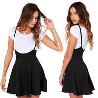 Women Black Mini Skirt With Shoulder Straps High Waisted Pleated Skater Dress
