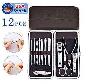 12 Piece Manicure Pedicure Nail Care Set Cutter Cuticle Clippers Kit Case