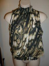 Serenade L beige black flowy elastic waist semi-sheer sleeveless shirt