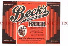Unused 1930s Beck's BOCK Beer label Tavern Trove Buffalo New York
