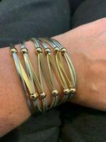 Gold Color Multi Strand Womens Flexible Cuff Bracelet Accordion Magnet Clasp NEW
