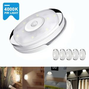 6PC/Set LED Night Puck Lights Motion Sensor Kitchen Cabinet Stairs Closet Lamps