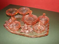 Vintage Rose Glass Beautiful 9 Piece Dressing Table Set