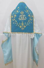 Silver with Marian Blue Humeral Veil with AM embroidery,voile huméral, omerale