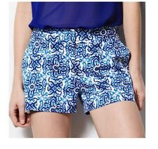 Milly For Designation Tile Print Short Blue Multi Sateen Cotton Spandex Nwt  12
