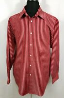 Roundtree & Yorke Trademark Mens Large Long Sleeve Button Down Dress Shirt Red